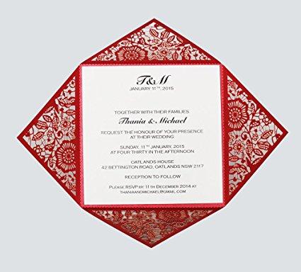 undangan pernikahan laser cut merah
